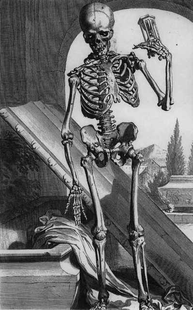 Воскресение скелета в Средние Века гравюра