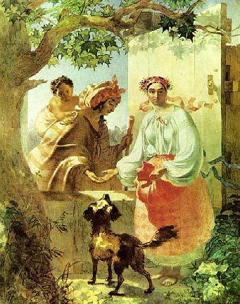 Т.Шевченко. Цыганка гадает украинской девушке. 1841.